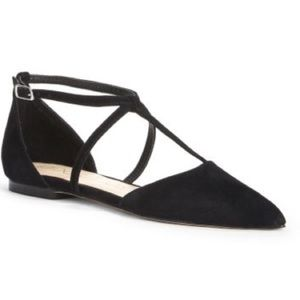 New Sole Society Chandler Black Suede T-Strap Flat
